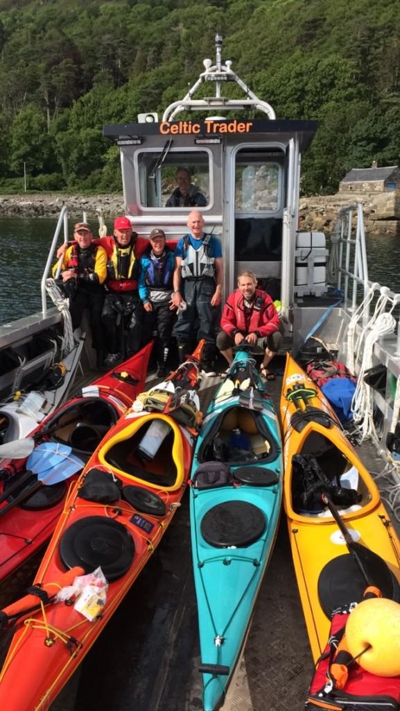 Our Landing craft, Celtic Trader, transporting a Kayak group between islands.