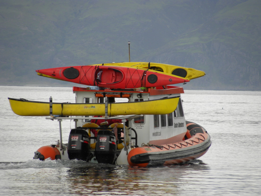 Our cabin RIB, Celtic Voyager, transporting Kayaks.
