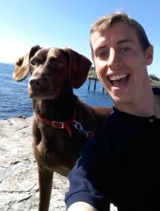 Tom enjoying a dog walk in the sun.